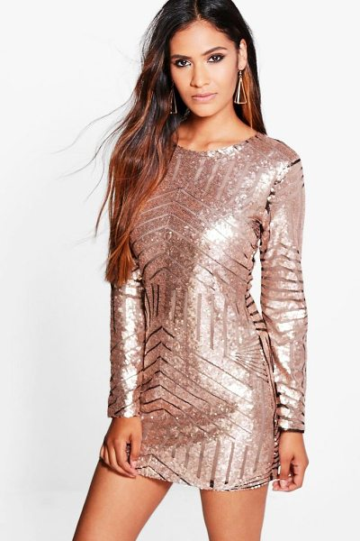 BOOHOO Boutique Luci Sequin Mesh Bodycon Dress - Heading out' Out-sparkle the crowd in a killer sequin...