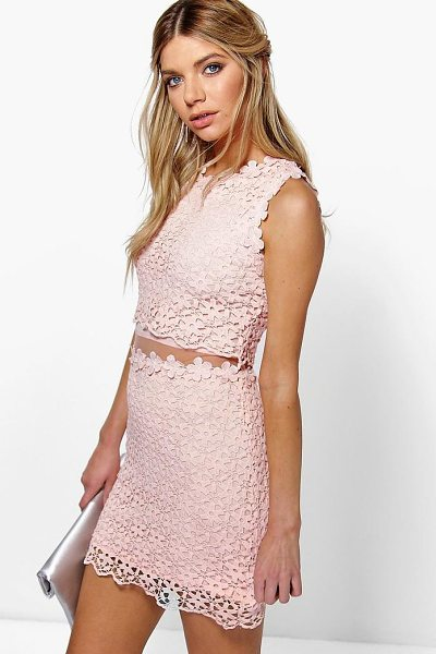 Boohoo Boutique Lucy Lace Double Layer Bodycon Dress in pink - Get dance floor-ready in an entrance-making evening...