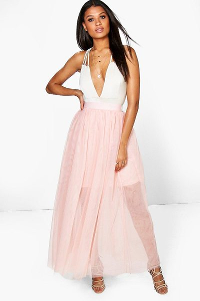 Boohoo Boutique Lyssa Full Length Tulle Skirt in nude - Party with your pins out in a statement evening...