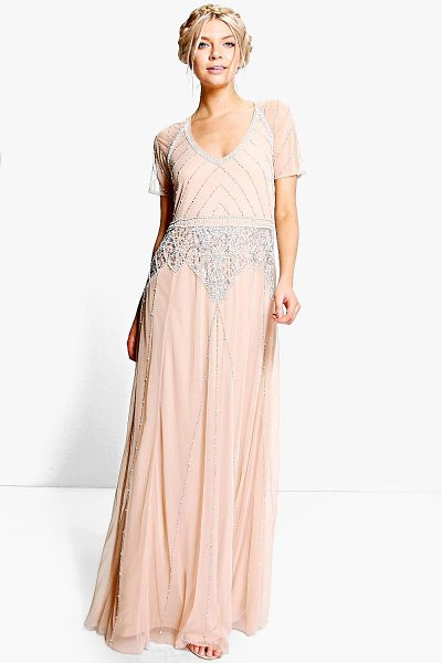 BOOHOO Boutique Mai Beaded Cap Sleeve Maxi Dress in nude - Dresses are the most-wanted wardrobe item for...