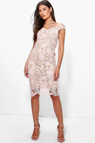 9b691fd427b Boohoo Boutique Marcie Lace Off Shoulder Midi Dress in pink - Dresses are  the most-