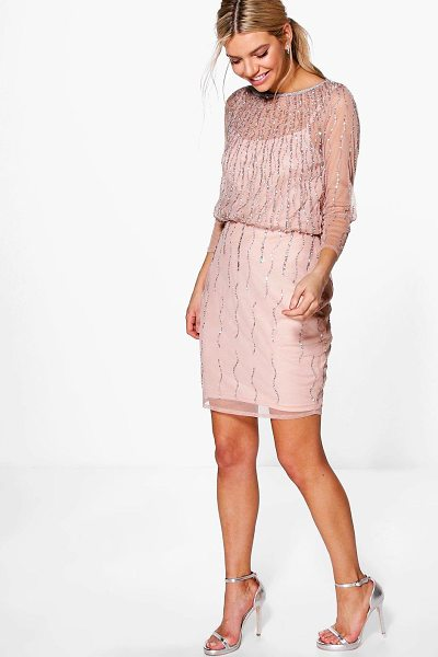 Boohoo Boutique Marlena Beaded Batwing Dress in blush - Dresses are the most-wanted wardrobe item for...