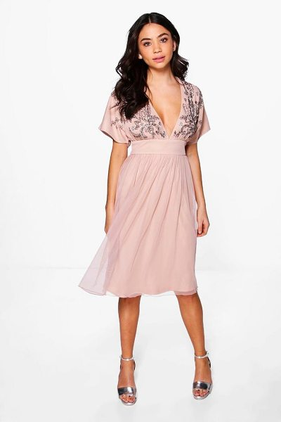 BOOHOO Boutique Megan Embellished Skater Dress in nude - Dresses are the most-wanted wardrobe item for...