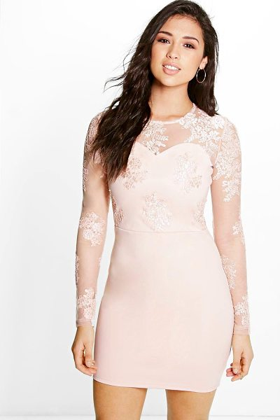 Boohoo Boutique Mel Corded Lace Long Sleeve Bodycon Dress in nude - Get dance floor-ready in an entrance-making evening...