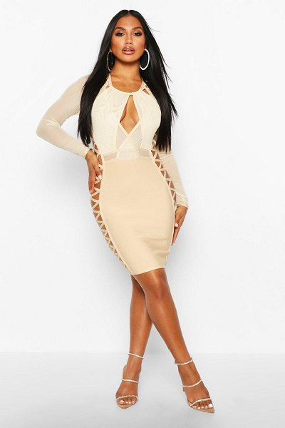 Boohoo Boutique Mesh Lace Side Extreme Bandage Dress in stone