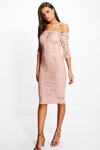 Boohoo Boutique Crochet Off Shoulder Midi Dress in blush - Dresses are the most-wanted wardrobe item for...