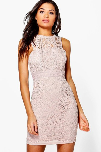 Boohoo Boutique Lace Racer Neck Bodycon Dress in mink - Dresses are the most-wanted wardrobe item for...