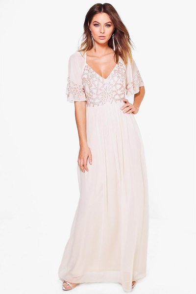 Boohoo Boutique Embellished Maxi Dress in nude