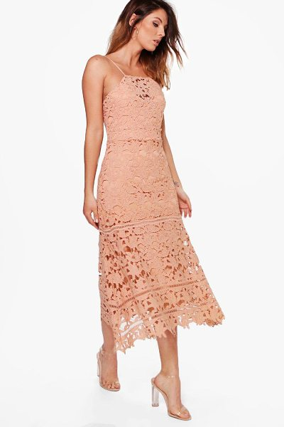 Boohoo Boutique Mimi Lace Strappy Midi Dress in peach - Boutique Mimi Lace Strappy Midi Dress peach