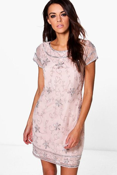 Boohoo Boutique Mona Embellished Shift Dress in blush - Dresses are the most-wanted wardrobe item for...