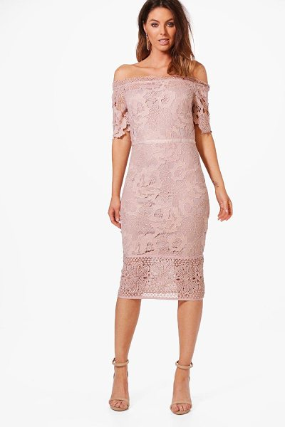 257c798bacf Boohoo Boutique Off Shoulder Lace Midi Dress in blush - Dresses are the most -wanted