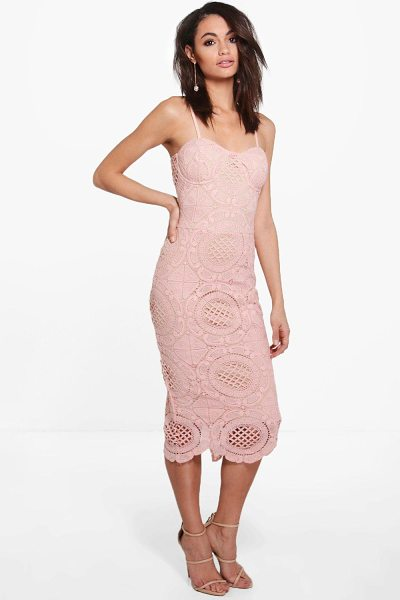Boohoo Boutique Nora Bustier Corded Lace Midi Dress in nude - Boutique Nora Bustier Corded Lace Midi Dress nude