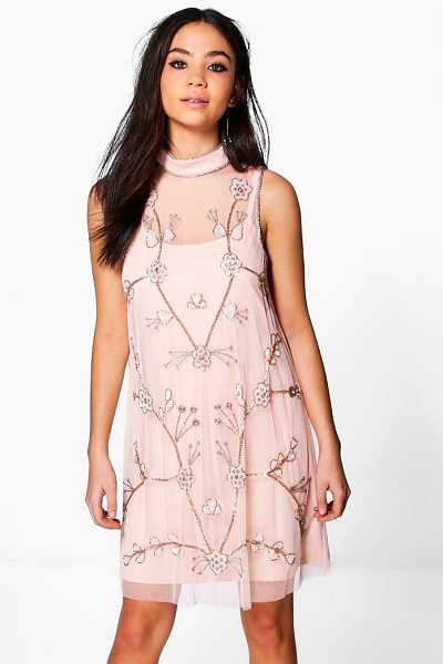 Boohoo Boutique Nora Embellished Swing Dress in peach - Dresses are the most-wanted wardrobe item for...