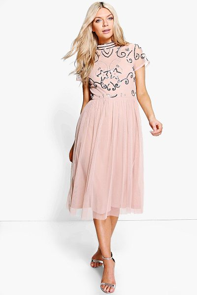 Boohoo Boutique Embellished Midi Dress in blush - Dresses are the most-wanted wardrobe item for...