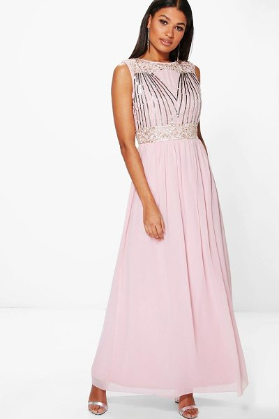 Boohoo Boutique Rosa Embellished Chiffon Maxi Dress in blush - Dresses are the most-wanted wardrobe item for...
