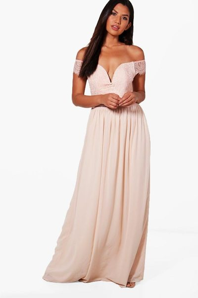 Boohoo Boutique Lace Off The Shoulder Maxi Dress in blush