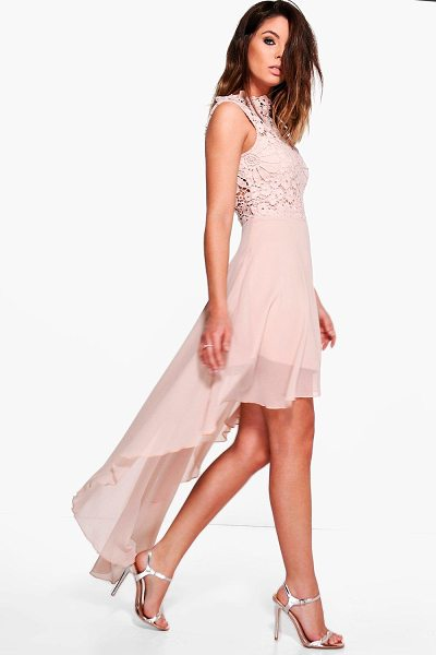 Boohoo Boutique Lace Top Chiffon Dip Hem Dress in blush - Dresses are the most-wanted wardrobe item for...