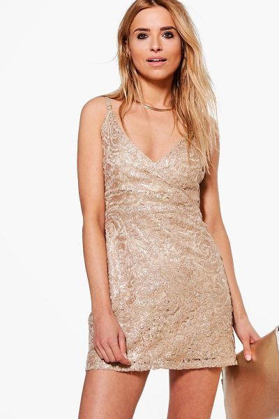 Boohoo Boutique Lace Sequin Bodycon Dress in gold - Dresses are the most-wanted wardrobe item for...