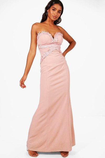Boohoo Boutique Sally Applique Trim  Maxi Dress in blush - Dresses are the most-wanted wardrobe item for...