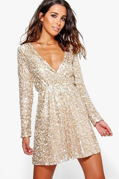 Boohoo Boutique  Sequin Wrap Skater Dress in gold