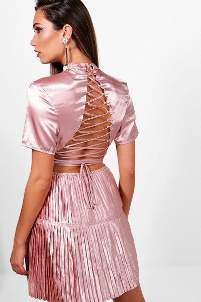 BOOHOO Boutique Satin Pleat  Back Skater Dress - Dresses are the most-wanted wardrobe item for day-to-night...