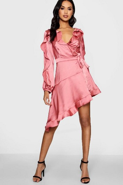 Boohoo Boutique Satin Ruffle Asymmetric Dress in rose - Dresses are the most-wanted wardrobe item for...