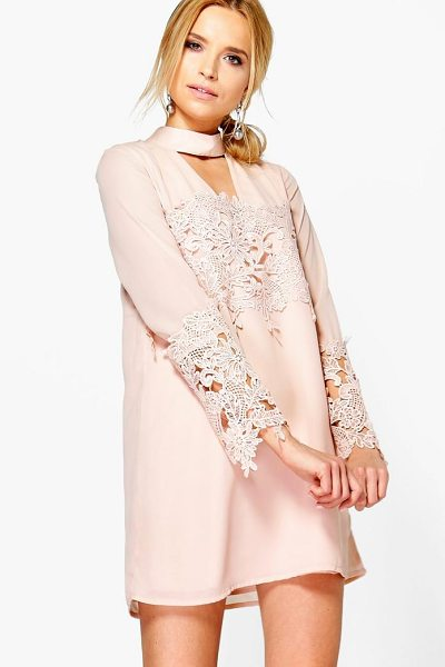 Boohoo Choker Lace Flute Sleeve Shift Dress in blush - Dresses are the most-wanted wardrobe item for...