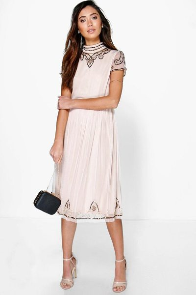 Boohoo Boutique Sia Beaded High Neck Midi Dress in nude
