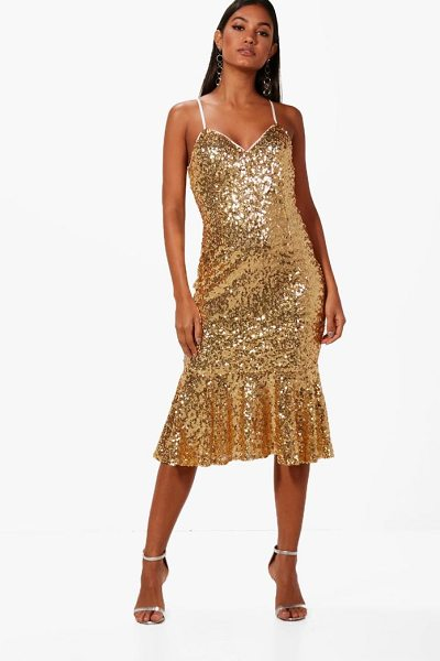 BOOHOO Boutique Sequin Frill Hem Midi Dress in gold - Dresses are the most-wanted wardrobe item for...
