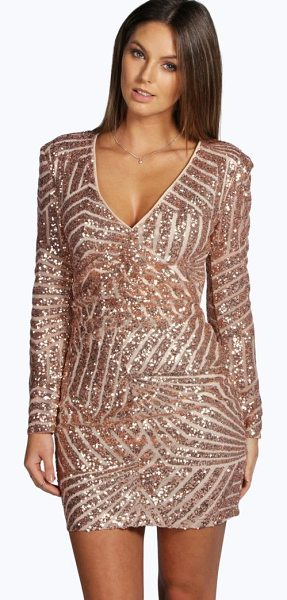 Boohoo Boutique  Sequin Panelled Bodycon Dress in nude - Dresses are the most-wanted wardrobe item for...