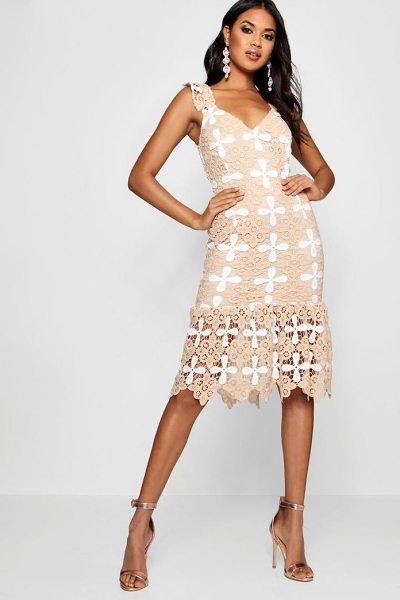 Boohoo Boutique Crochet Frill Hem Midi Dress in nude - Dresses are the most-wanted wardrobe item for...