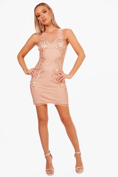Boohoo Boutique  Grid Embellished Bodycon Dress in peach - Dresses are the most-wanted wardrobe item for...