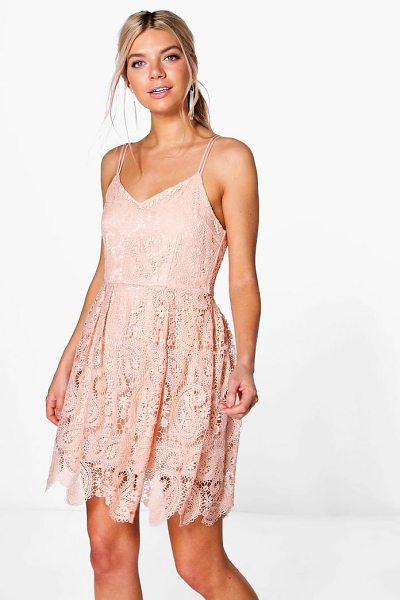 Boohoo Boutique Tasha Scallop Lace Skater Dress in blush - Dresses are the most-wanted wardrobe item for...