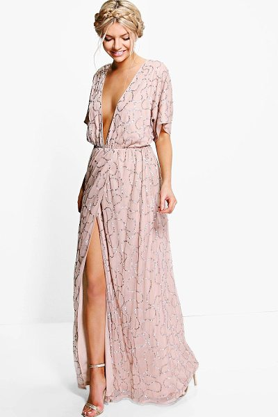 Boohoo Boutique Tiai All Sequin Tie Back Maxi Dress in rose - Boutique Tiai All Sequin Tie Back Maxi Dress rose