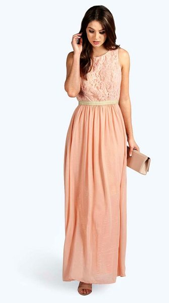 Boohoo Boutique Zaynah Metallic Lace Detail Chiffon Maxi Dress in blush - Spin your way through cocktail hour in our selection of...