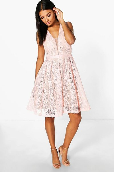 Boohoo Boutique Zoe All Over Lace Midi Skater Dress in pink - Dresses are the most-wanted wardrobe item for...