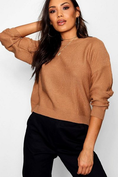 Boohoo Boxy Scoop Neck Jumper in camel - Nail new season knitwear in the jumpers and cardigans...