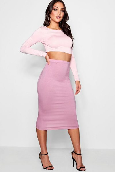 Boohoo Brea Basic Jersey Midi Skirt in desert rose - Skirts are the statement separate in every wardrobe This...