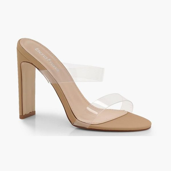 86ee684b6c0 Boohoo Double Clear Band Mule Heels in nude - We ll make sure your shoes