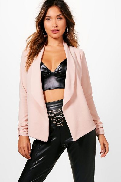 Boohoo Brooke Ruched Sleeve Shawl Collar Blazer in nude - Wrap up in the latest coats and jackets and get...