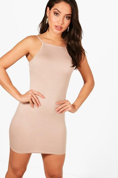 Boohoo Brooke Square Neck Cami Bodycon Dress in sand - Dresses are the most-wanted wardrobe item for...