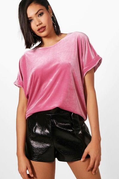 BOOHOO Brooke Velvet Oversized T-Shirt - Steal the style top spot in a statement separate from...