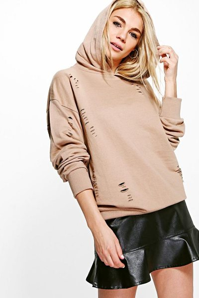 Boohoo Brooklyn Distressed Oversized Hoody in sand - Steal the style top spot in a statement separate from...