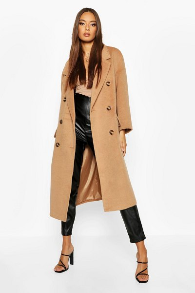 Boohoo Brushed Double Breasted Belted Wool Look Coat in camel