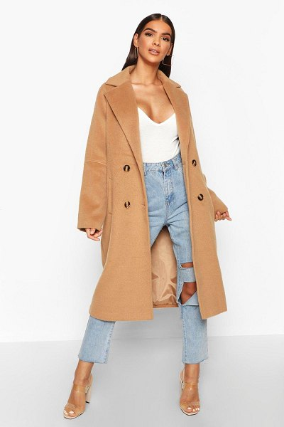 Boohoo Brushed Double Breasted Wool Look Coat in camel