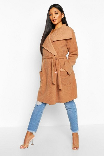 Boohoo Brushed Wool Look Belted Coat in camel