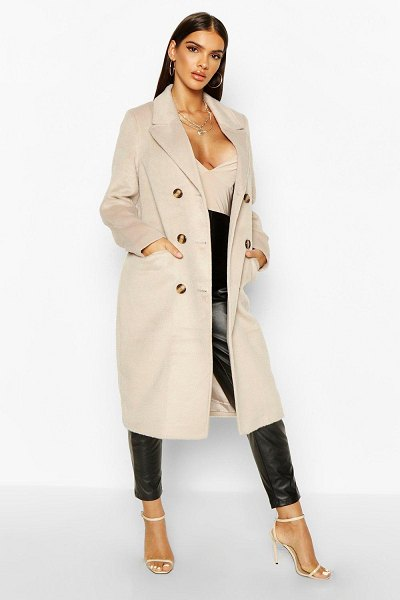 Boohoo Brushed Wool Look Double Breasted Coat in stone
