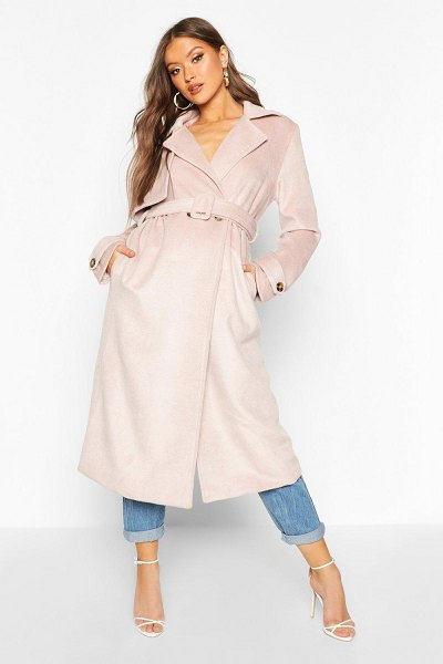 Boohoo Brushed Wool Look Trench Coat in blush