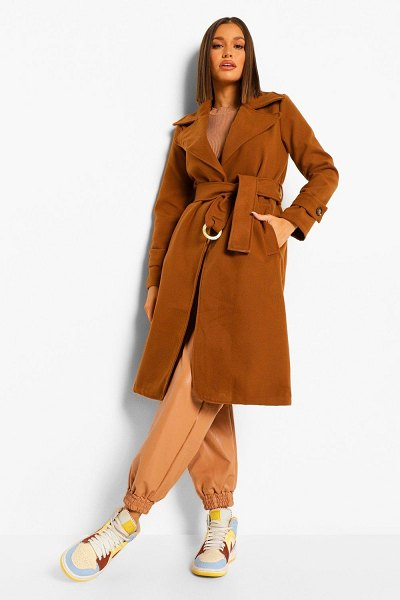 Boohoo Buckle Detail Belted Wool Look Coat in camel