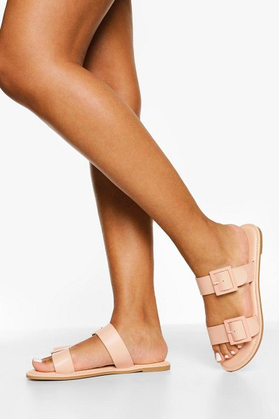 Boohoo Buckle Detail Double Strap Slider in nude